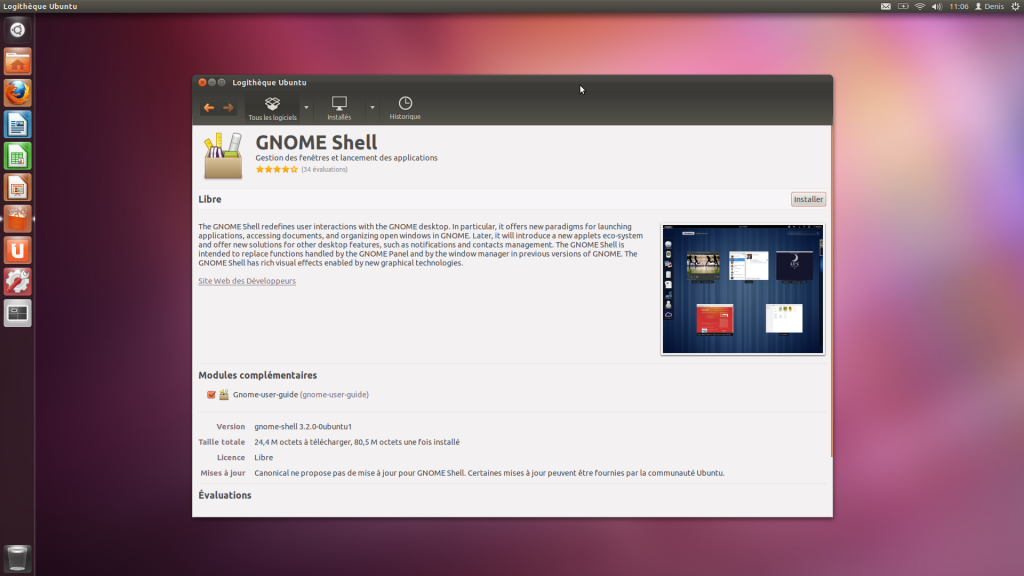 Installation de Gnome Shell